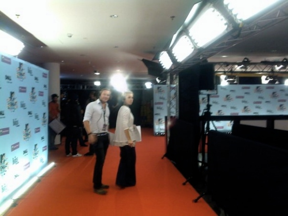 Rehersal for walking the Red Carpet. (Talent escort. I did not actually walk it. :-P)